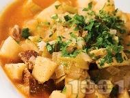 Телешка яхния с картофи, праз и пащърнак